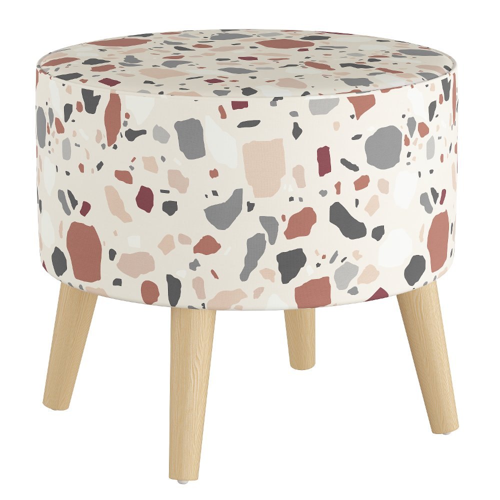 mid century accents: Mid Century Terrazzo Rust and Multi Color Round Ottoman