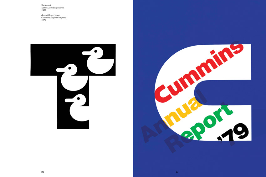 paul rand logos including white ducks in a black T and the Cummings annual Report