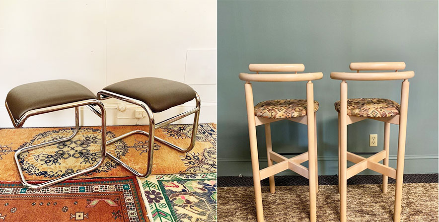 Black-Owned Vintage Mid Century Modern: marcel Breuer stools and a pair of Danish modern bar stools