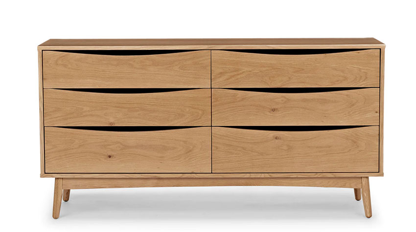 light oak wood mid century modern dresser with crescent cutout drawer tops