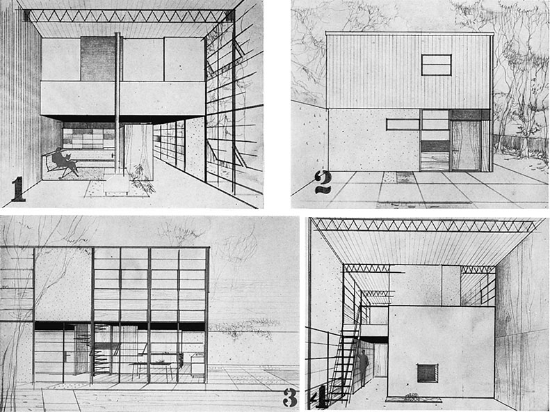 Renderings showing a seating area with large sectional couch, showing the side of a building, shaped like a square, with a courtyard in the foreground, showing a rough sketch of the dining and kitchen layout and a spiral staircase with the exterior skeleton drawn in front, of a studio space, with a ladder to the left that is leading up to the second floor.