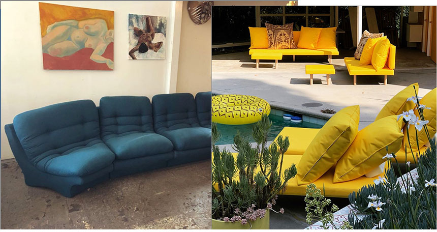 Black-Owned Vintage Mid Century Modern: blue sectional mid century modern