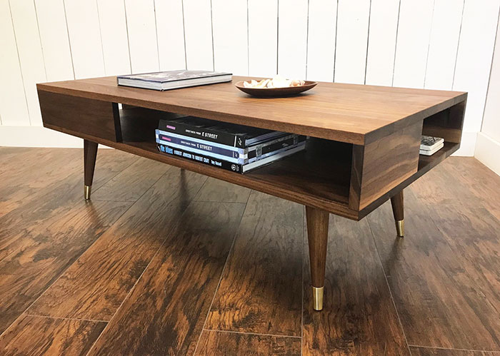 olid wood mid century style coffee table with compartments