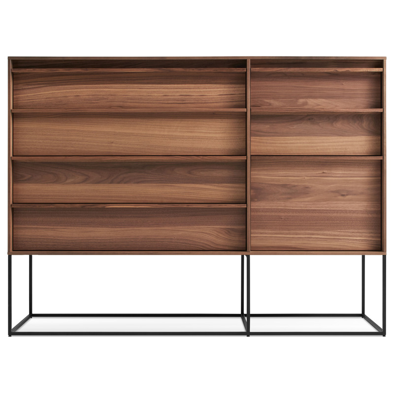 walnut and metal mid century modern dresser