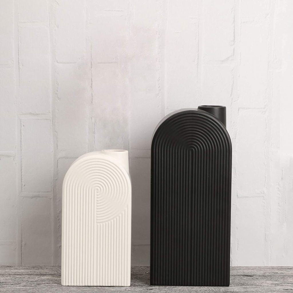 mid century accents: black and white modern geometric vases