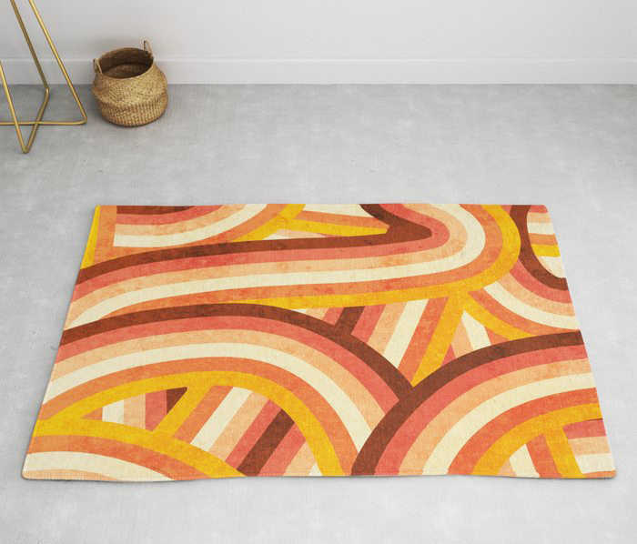 mid century accents: vintage style modern accent area rug in groovy orange swirl pattern