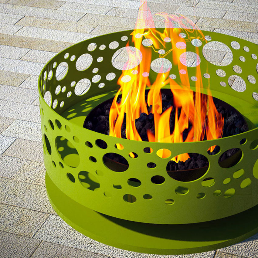 green steel fire pit with bubble laser cut design