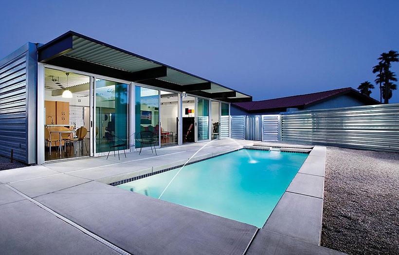 long rectangular modern pool