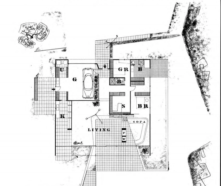 Case Study House #9 floor plan of a square home with a large central living room, kitchen, two bedrooms a bath and a study.>
