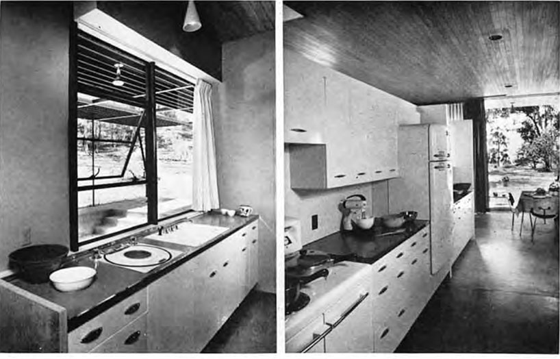 Two black and white images of a kitchen with double sink and white metal cabinets.