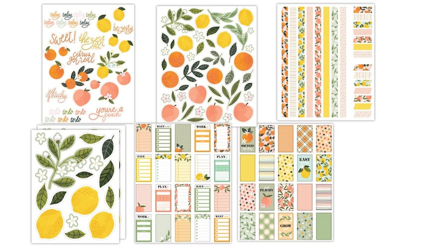 6 colorful pages with citrus fruits and flowers in various arrangements.>