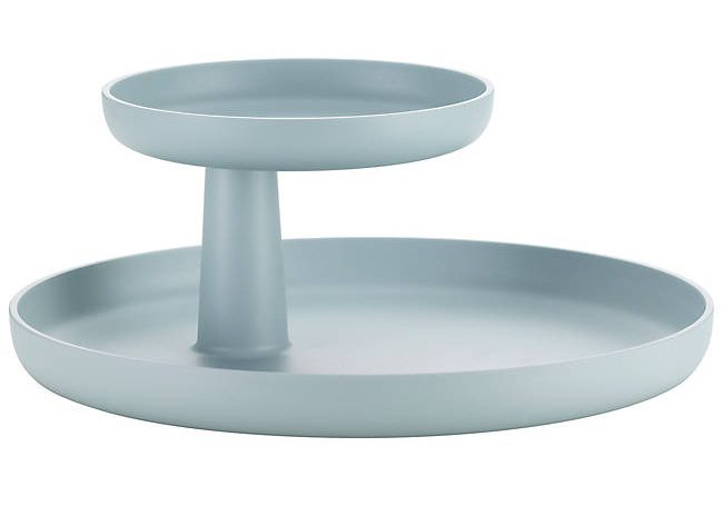 An ice blue-colored tray with two circular tiers, the top smaller than the bottom.>