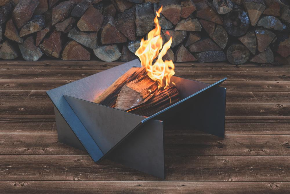 triangular steel fire pit