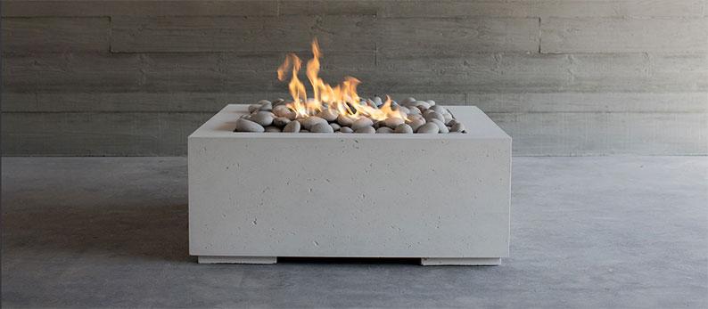 sleek whit modern fire pit