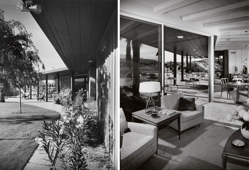 a view of the back pavillion of the Ball-Arnaz house as well as it's living room