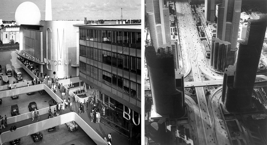 "left: Black and white image of a towering ""GM"" building with curved sides and interesting passenger walkways above the street below which is filled with automobiles. right: A model city showing extremely tall skyscrapers and intersecting highways."