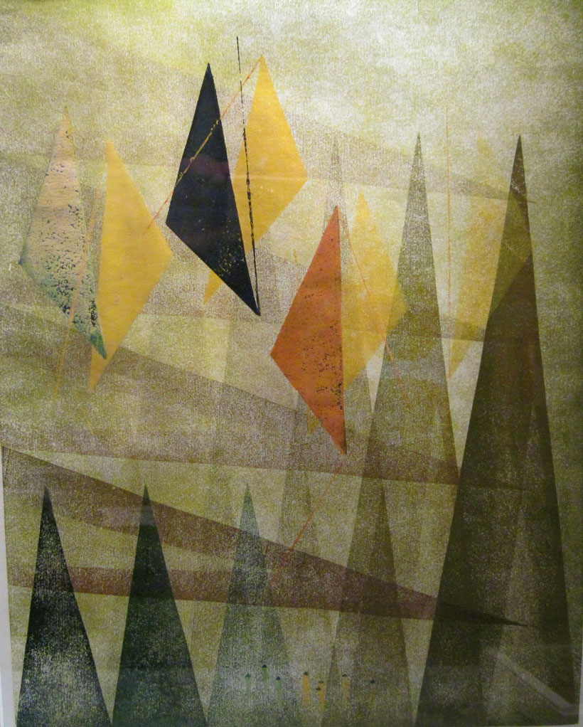 Abstract Harry Bertoia art piece featuring overlapping triangles in muted, natural shades.