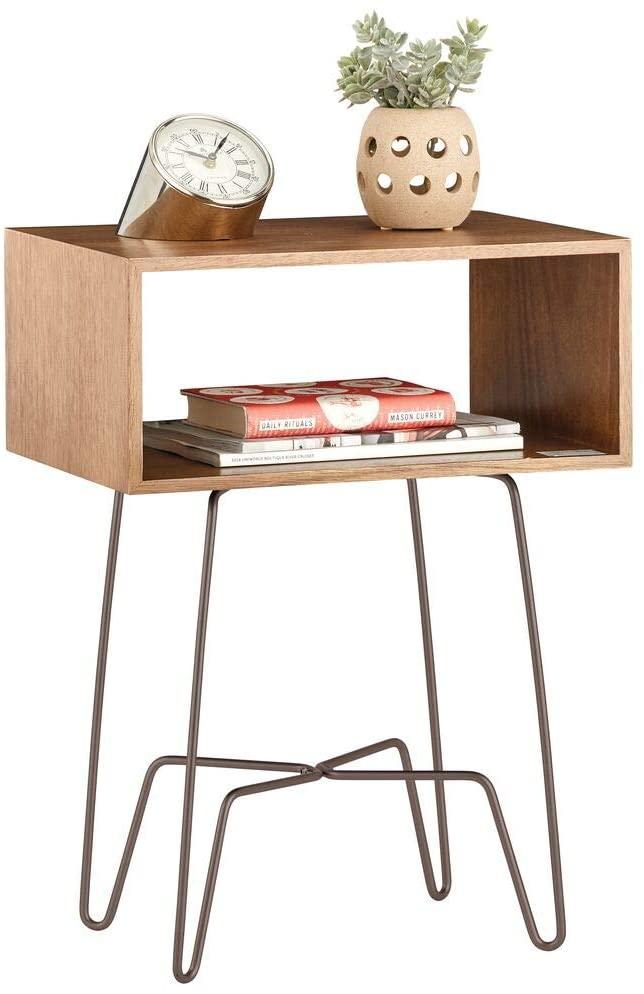 Open-shelf wood nightstand with industrial metal hairpin legs.