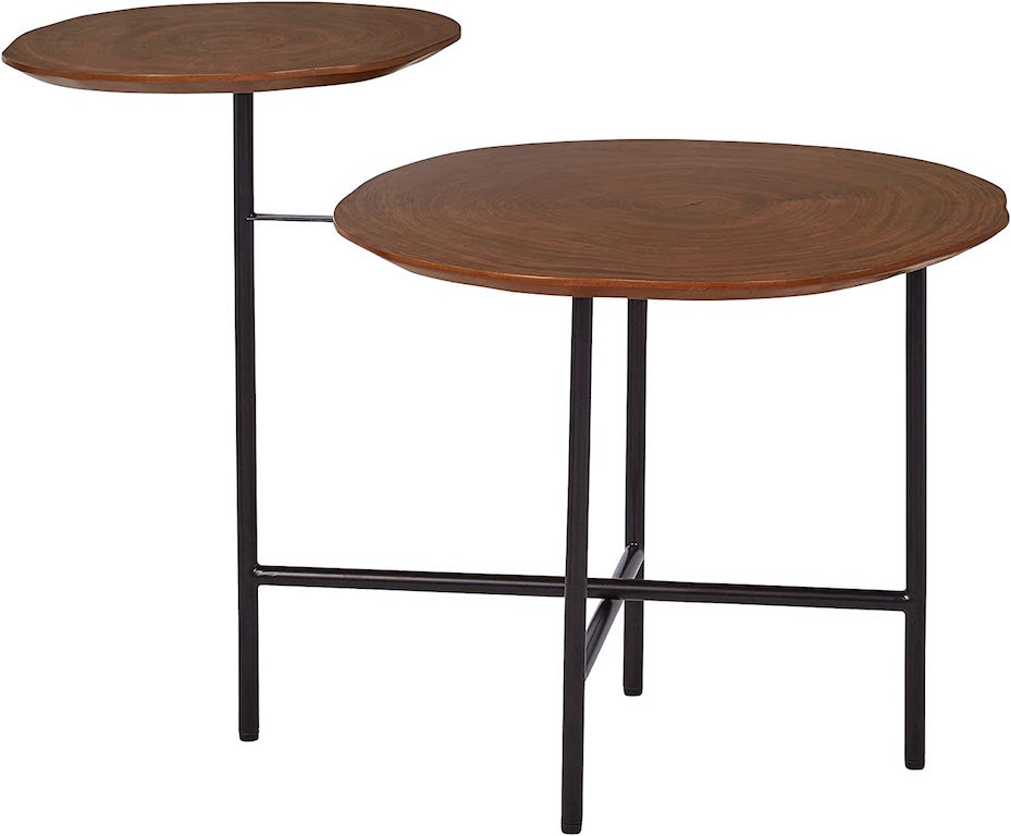 Round, two-tiered wooden retro nightstand with black metal legs.