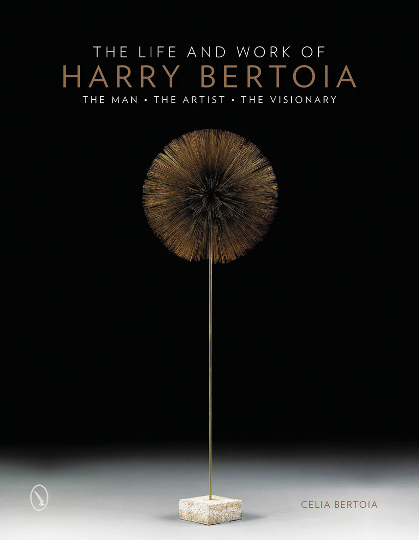 The minimalist cover of Celia's book, The Life and Work of Harry Bertoia The man, the artist, the visionary