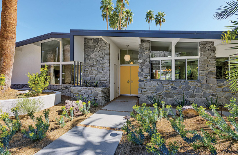 Front entrance of a mid century house as an example of one of Palm Springs' doors.