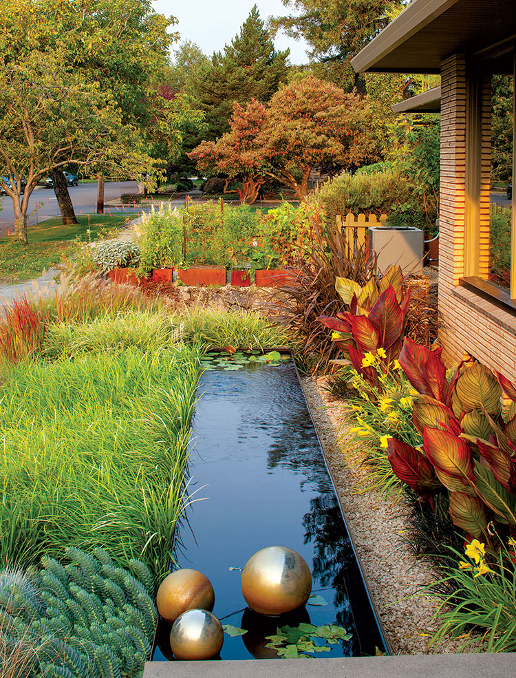 A modern water feature framed by loose colorful plantings.