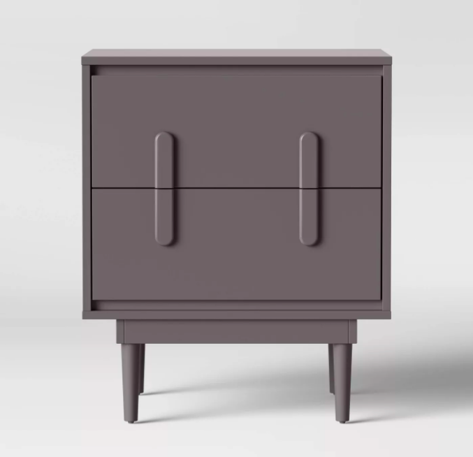 Gray retro nightstand with tapered peg legs and two drawers.