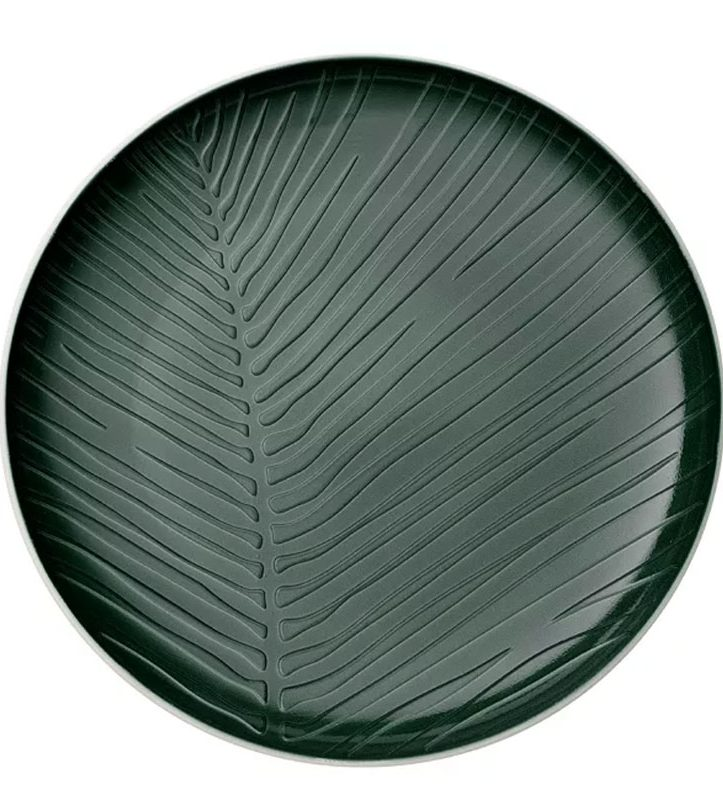 modern tableware in dark green with a pal, leaf texture