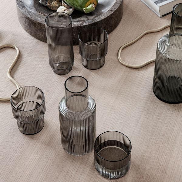 smoke colored drinking glass set