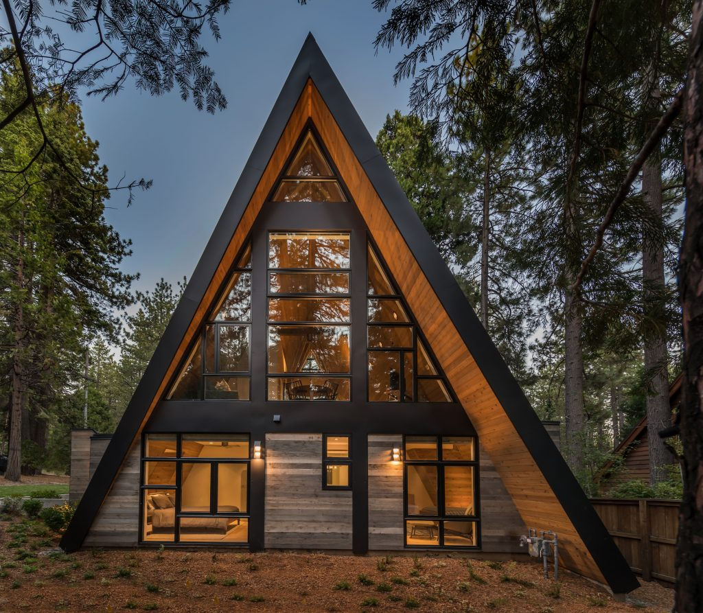exterior Lake Tahoe new build A-frame
