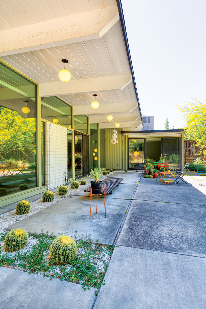 The back patio has concrete ground, cacti and minimal furniture.