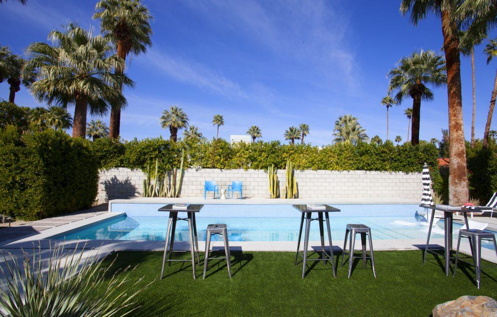 mid century modern pool outdoor tile