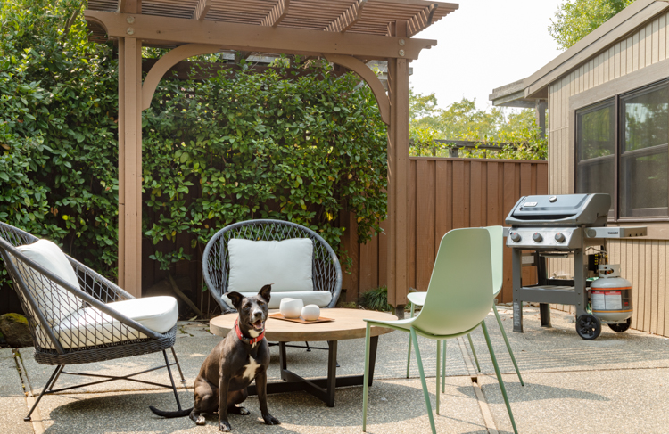 Outdoor furniture on a mid century patio