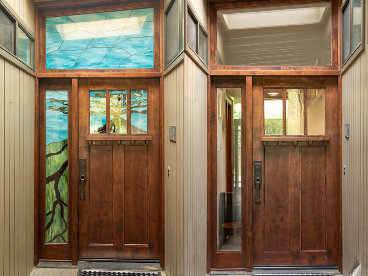 Satined glass removed from a doorway, before and after photos.