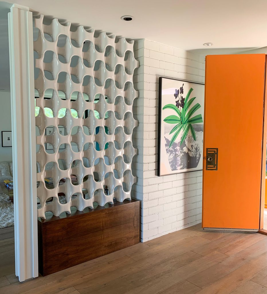 A honeycomb, bone looking white room divider screen on a brown hardwood floor with a hanging picture of a palm frond and large orange door.