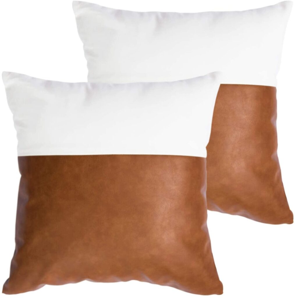 mid century modern throw pillows two toned leather