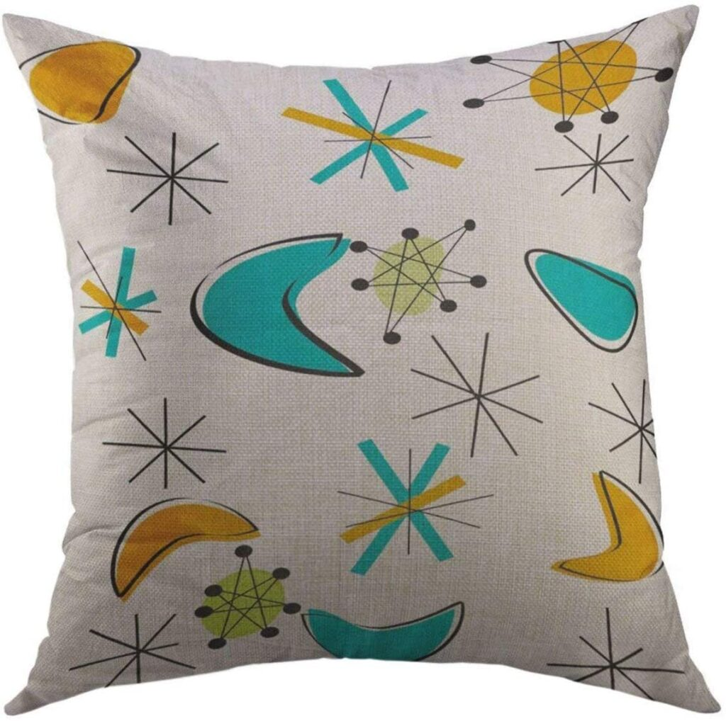 mid mod throw pillows starbursts space age