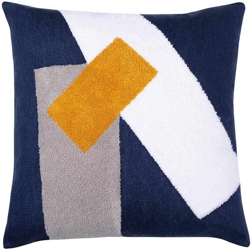 mid century modern throw pillows navy yellow white