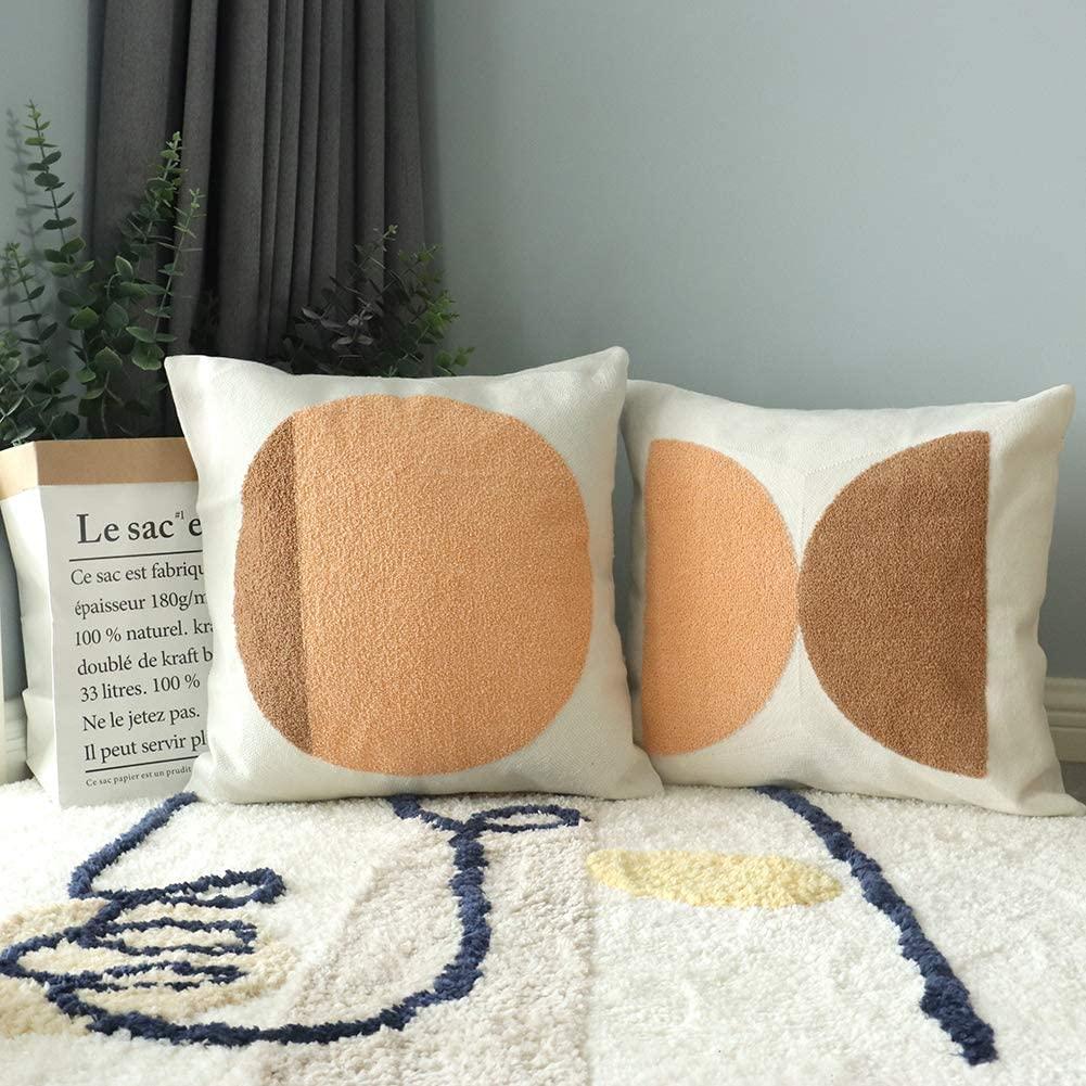 mid century modern throw pillows boho circular