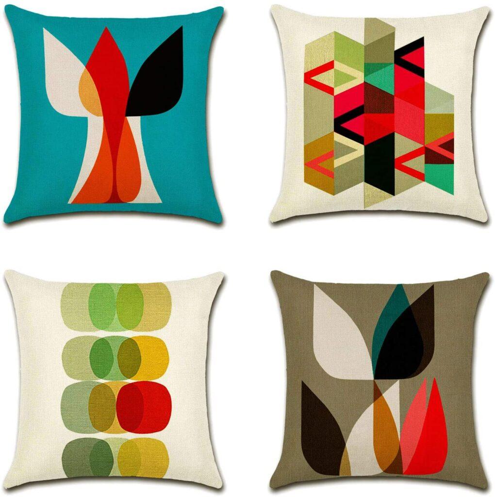 mid century modern throw pillows geometric bright