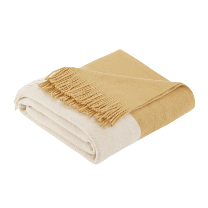 Gold and cream block throw blanket