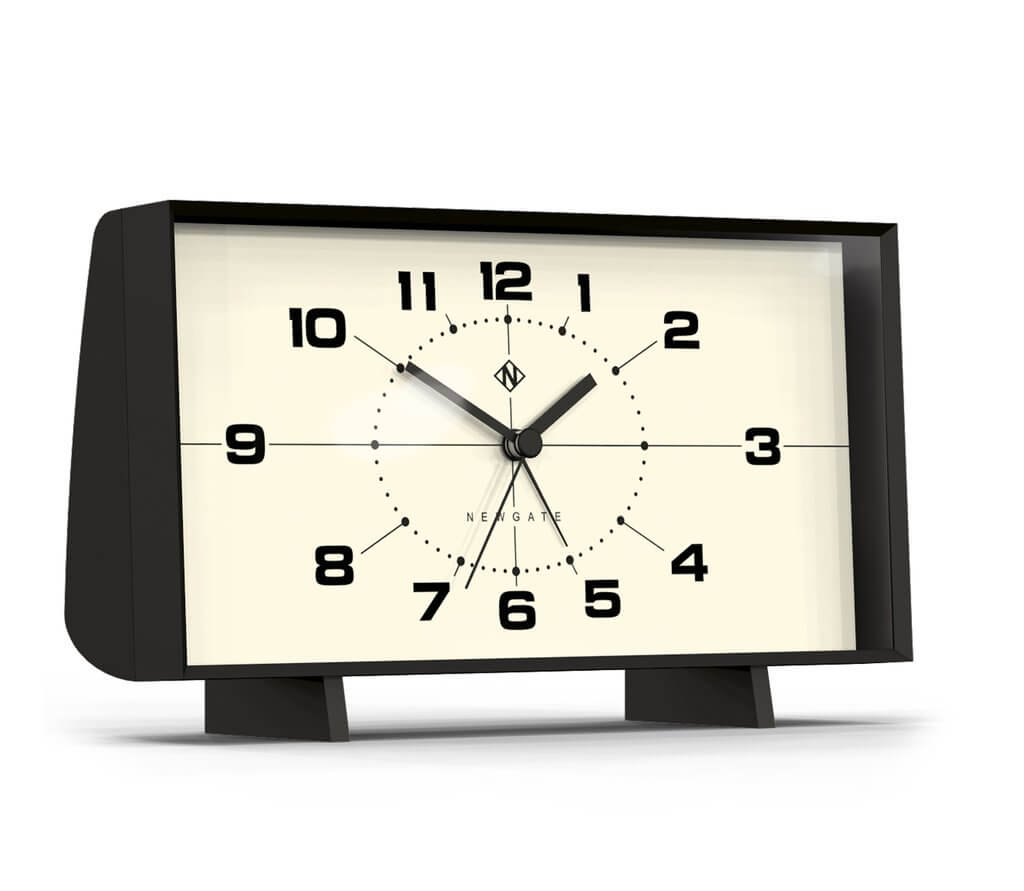 Black and white retro alarm clock for a Mid Mod Bedroom.