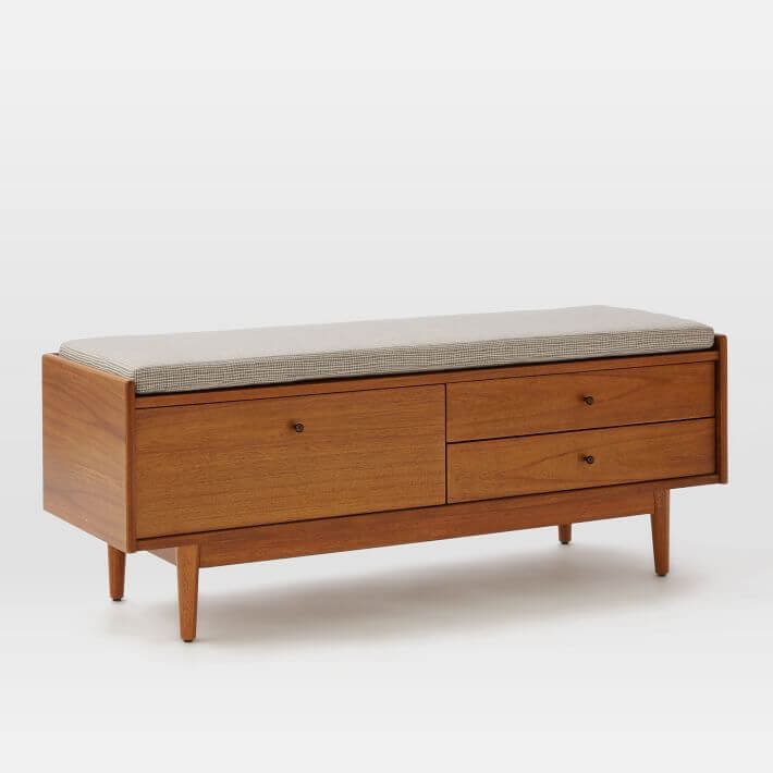 Acorn wood storage bench for a Mid Mod bedroom