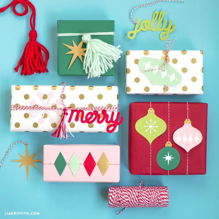 5 Christmas presents with retro holiday embellishments such as paper ornaments and colorful tassels