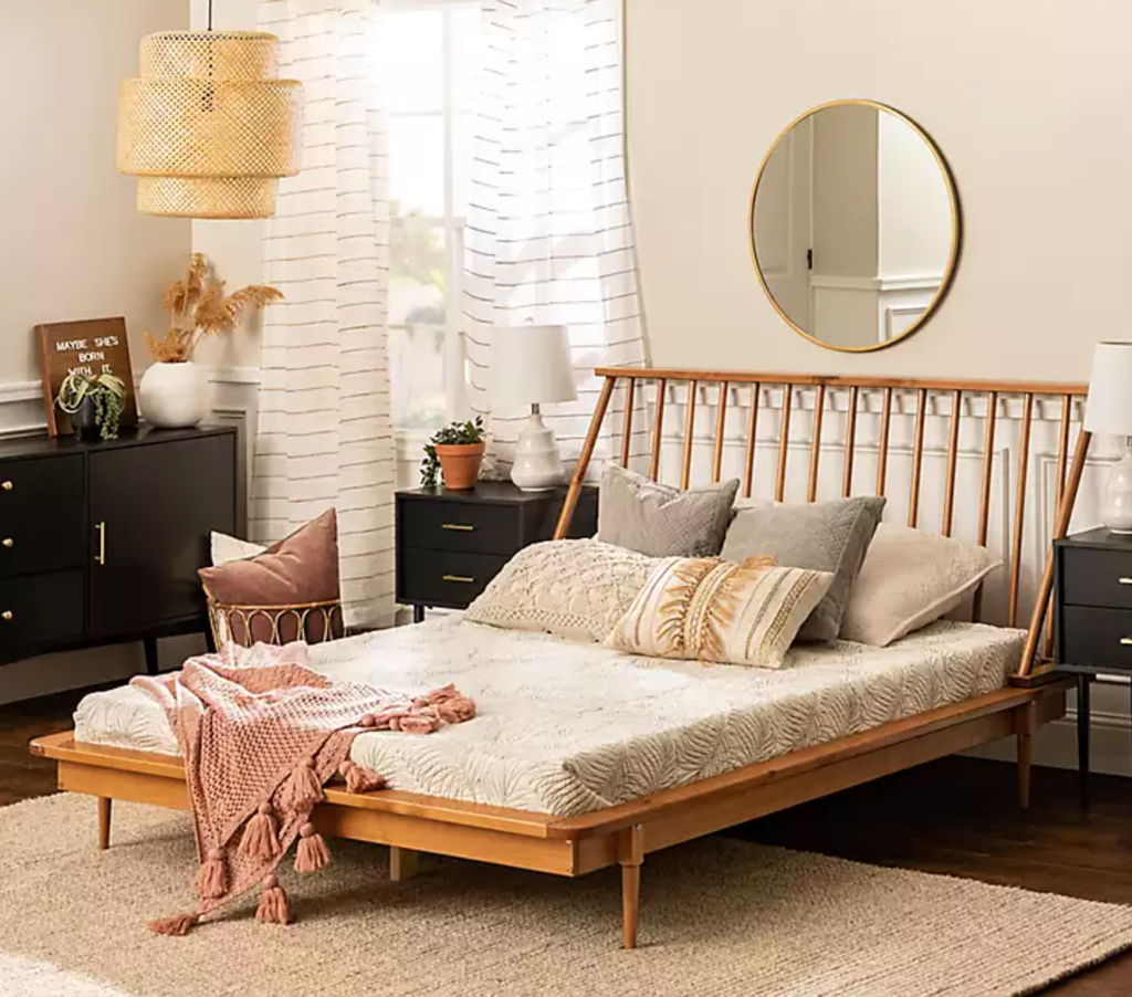 mid century modern bed frame kirklands
