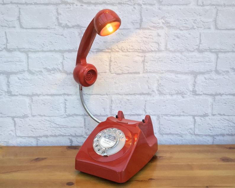 retro red phone lamp