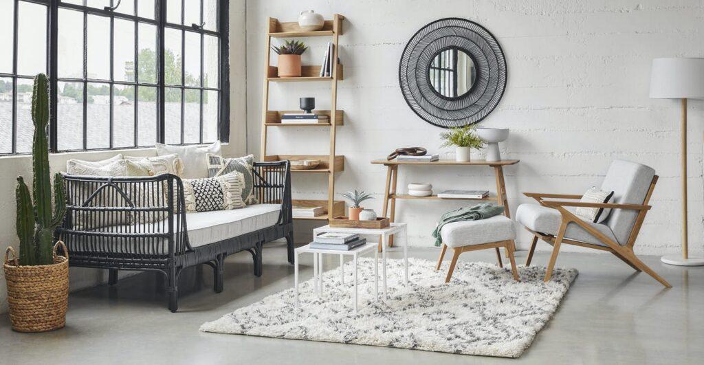 modern living room desert vibe