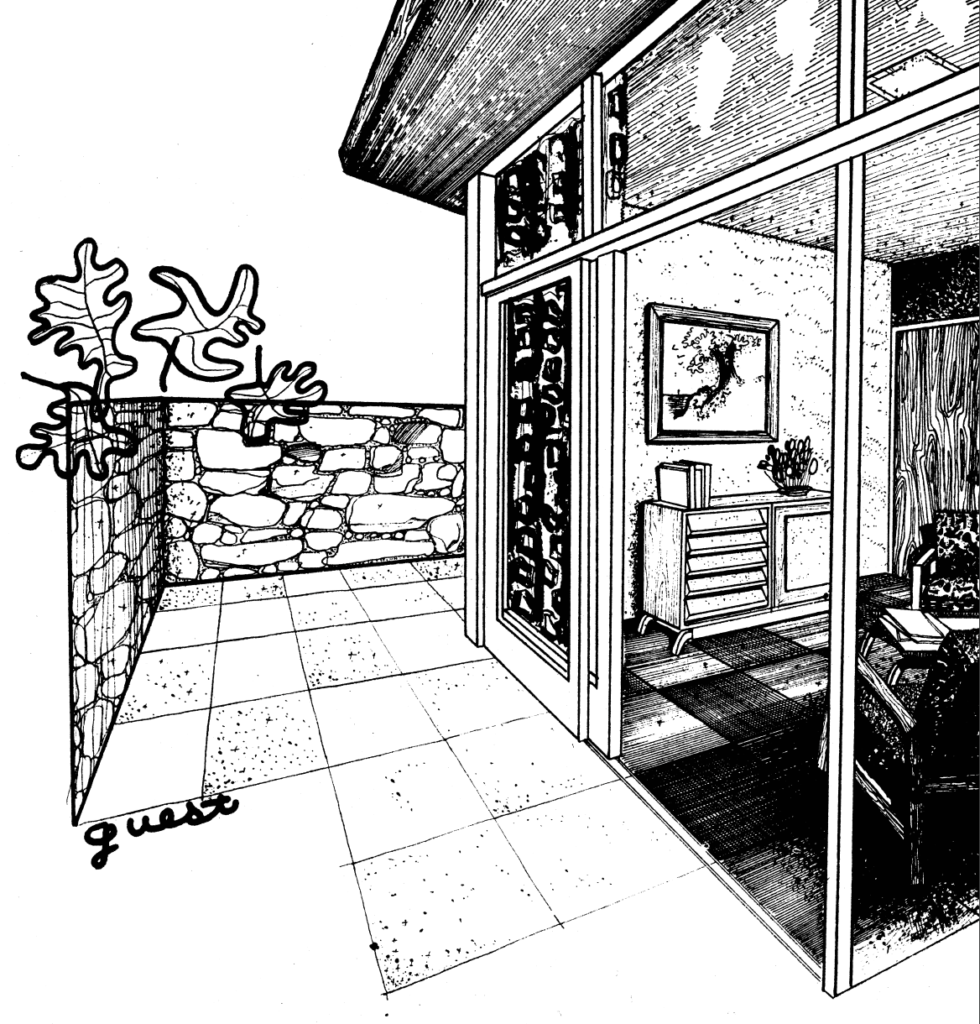 Black-and-white photo of the guest room of case study house #12