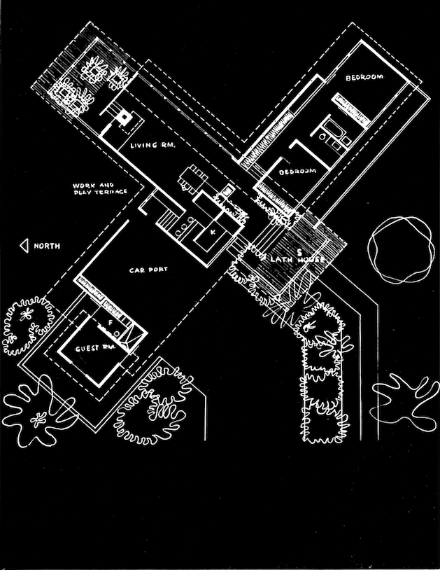 """Printed layout of a midcentury home in an """"x"""" shape."""