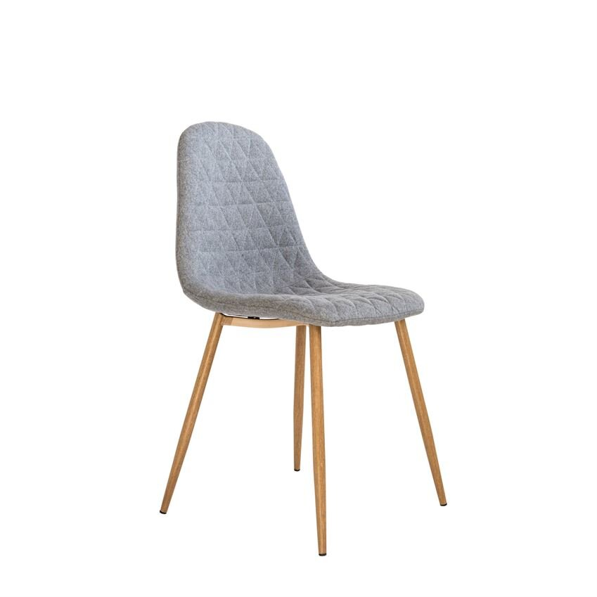 Grey Fabric Upholstered Chair and Oak Finish Metal Legs